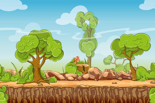 Country seamless landscape in vector cartoon style