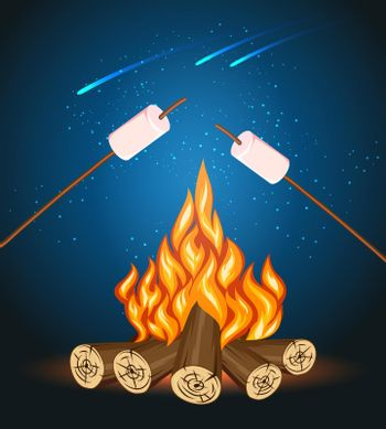 Bonfire with marshmallow, camping grill marshmallow vector illustration
