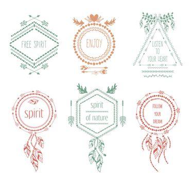 Boho tribal hipster labels