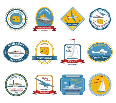 Cruise travel agency tours labels colored