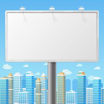 Blank billboard with urban background