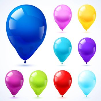 Color balloons icons set