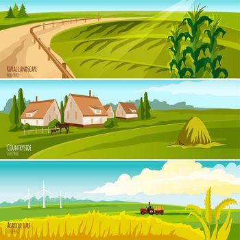 Countryside 3  Horizontal Flat Banners Set