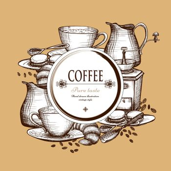 Coffee set vintage style composition poster