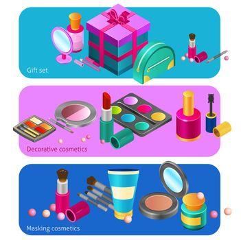 Cosmetics isometric banners