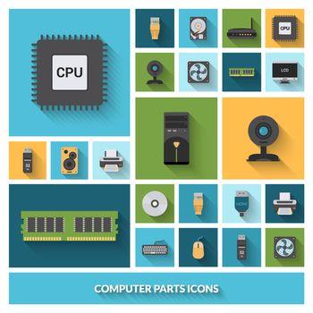 Computer Parts Decorative Icons Set