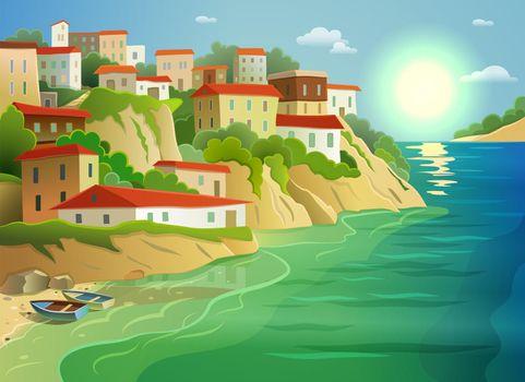 Coastal sea village living colorful poster