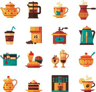 Coffe and Tea Set  Icons Flat