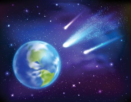 Comets Coming To Earth Background