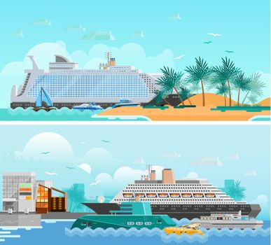 Cruise Vacation Flat Horizontal Banners Set
