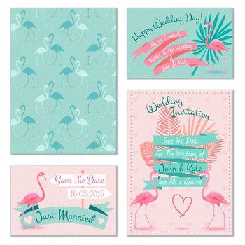 Flamingo wedding invitation cards