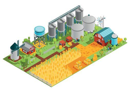 Farm Buildings Isometric Landscape