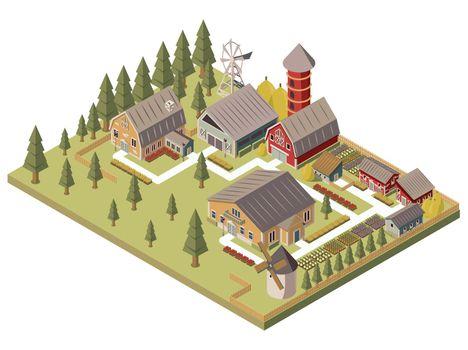 Farm Buildings Isometric Illustration