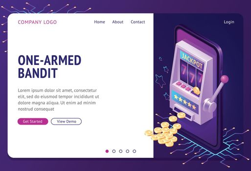 One-armed bandit isometric landing page, banner