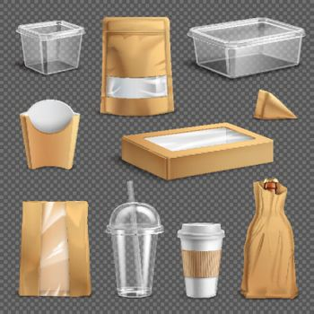 Fastfood Takeaway Packaging Realistic Set