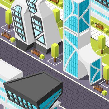 Futuristic Architecture Isometric Background