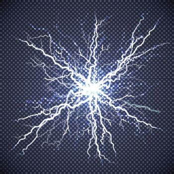 Electric Lightning Realistic Transparent Background