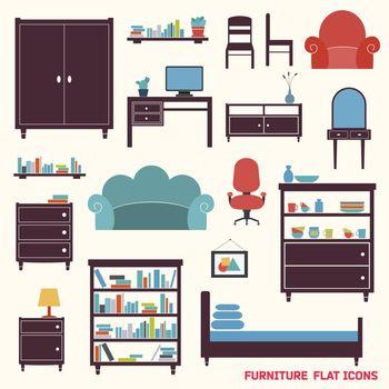 Furniture icons flat
