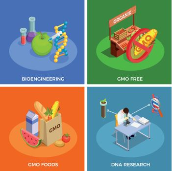 Genetically Modified Organisms Isometric Concept