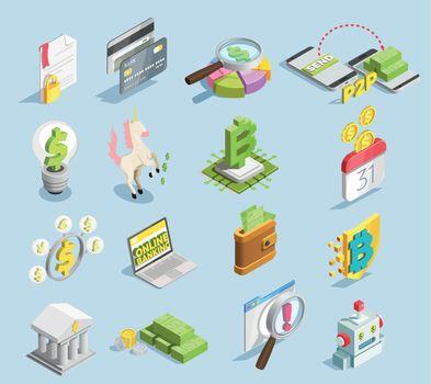 Financial Technology Isometric Set