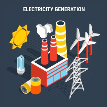Electricity Isometric Colored Composition