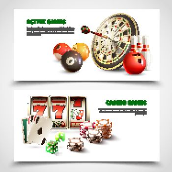 Games Realistic Banner Set