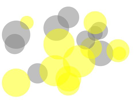 Abstract grey yellow circles with white background