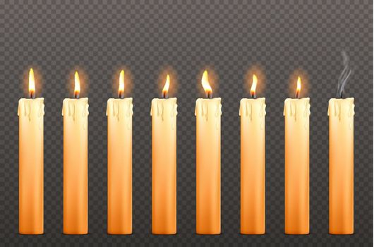 Candles with different fire flames and wax drips