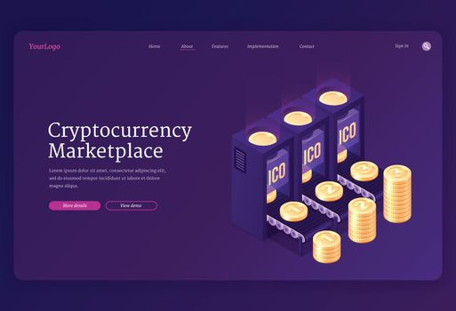 Vector landing page of cryptocurrency marketplace