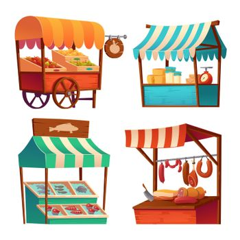 Market stalls, fair booths wood kiosks with awning