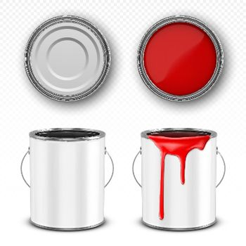 Red paint bucket, steel can with paint drips