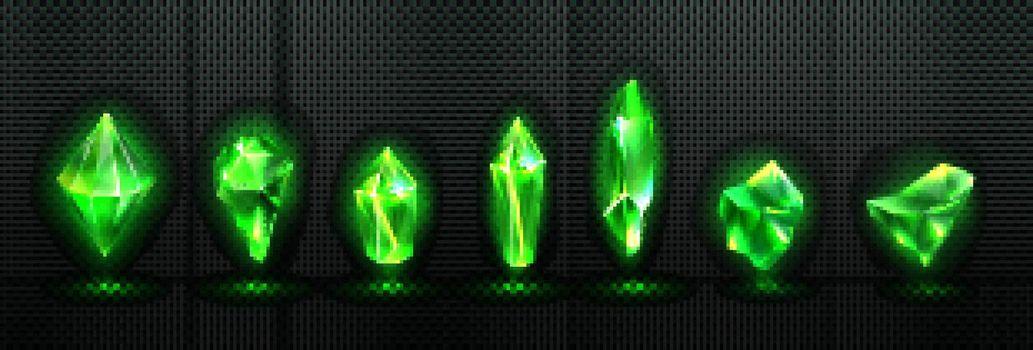 Precious emerald stones, shiny green crystals