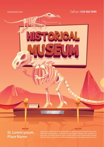 Poster of historical museum with dinosaur skeleton