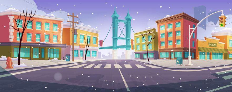 Winter Brooklyn crossroad and bridge city view,
