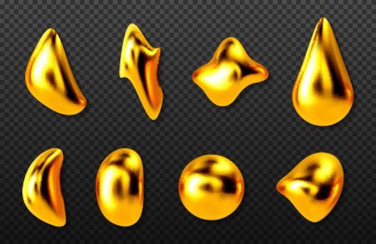 Liquid gold drops, golden 3d abstract drips set