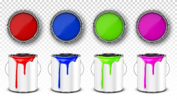 Paint buckets, steel cans with paint drips