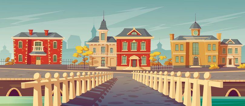 Bridge over rivet and promenade old european town