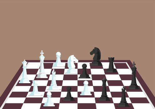 Chess figures on a chess board
