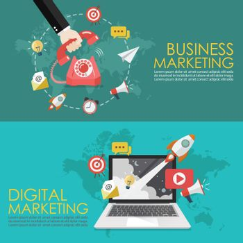 Concept of telephone marketing and digital marketing