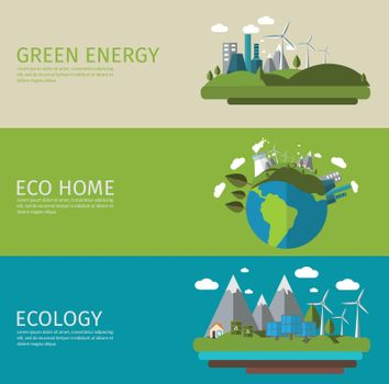 Ecology Flat Banner Set