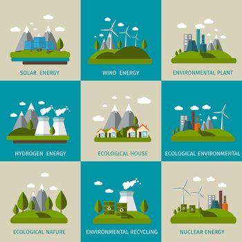 Ecology Icon Flat Set