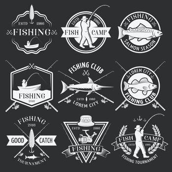Fishing White Emblems On Black Background