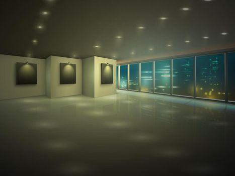 Empty illuminated apartment at night