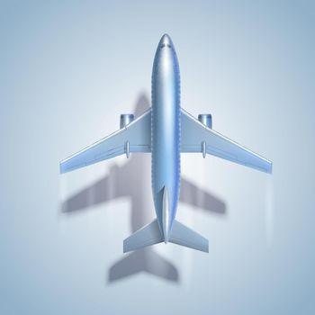 Flying airplane symbol