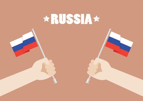 Hands holding up Russia flags