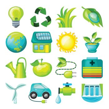 Ecological Cartoon Icons Collection