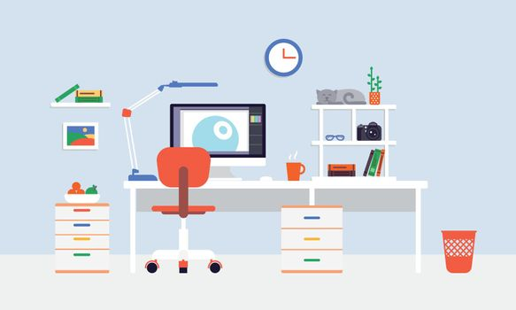 Flat Freelancer Workplace Template