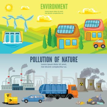 Environmental Pollution Cartoon Horizontal Banners