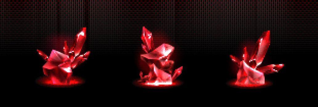 Precious ruby stones, shiny red crystals