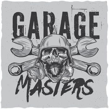 Garage masters t-shirt label design